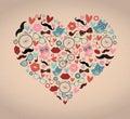 Hipster Doodles Set in Heart Shape
