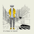 Hipster dressed dog up in jacket, pants and sweater. Grunge Texture Background. New York. Vector illustration