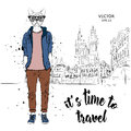 Hipster dressed dog up in jacket, pants and sweater. The old city of Prague. Vector illustration
