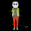 Hipster dressed lion in jacket, pants and sweater. Vector illustration