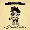 Hipster easter egg with pipe vintage illustration on the background repeating geometric tiles of rhombuses Stock Photo