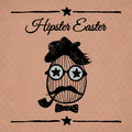 Hipster easter vintage poster with egg on the background repeating geometric tiles of rhombuses Royalty Free Stock Images