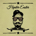 Hipster easter vintage poster with egg on skateboard the background repeating geometric tiles of rhombuses Royalty Free Stock Image