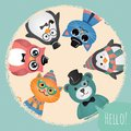 Hipster fashion retro animals and pets background card illustration banner Stock Image