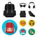 Hipster, fashion, style, subculture .Hipster style set collection icons in black, flat style vector symbol stock