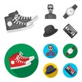 Hipster, fashion, style, subculture .Hipster style set collection icons in monochrome,flat style vector symbol stock