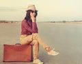 Hipster female traveler Royalty Free Stock Photo