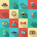 Hipster flat icon set long shadow with cassette bow tie and glasses isolated vector illustration Royalty Free Stock Image