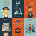 Hipster flat icons composition poster real free in skinny jeans barber shop scooter abstract isolated vector illustration Royalty Free Stock Images