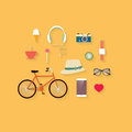 Hipster flat vector icon set theme bicycle vintage sunglasses ice cream camera phone and other icons design Stock Images