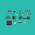 Hipster flat vector icon set theme scooter vintage sunglasses ice cream camera phone sneakers and other icons design Stock Image