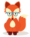 Hipster fox cute little orange Royalty Free Stock Photography