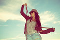 Hipster girl young woman with hat and sunglasses outdoor shot Stock Photo