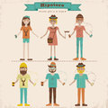 Hipster girls and boys set funny cartoon illustration of young people with fashion style Royalty Free Stock Photography