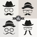Hipster glasses hats mustaches vector illustration Stock Images