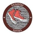 Hipster gumshoe logo. Grunge vector design template. Shoe icon
