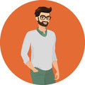 Hipster guy close up vector illustration wearing green fashion jeans and cardigan contains eps and high resolution jpeg Royalty Free Stock Photos