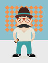 Hipster guy with hat ans glasses Royalty Free Stock Photography