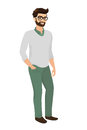 Hipster guy isolated vector illustration wearing green fashion jeans and cardigan contains eps and high resolution jpeg Stock Images
