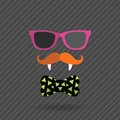 Hipster halloween man with glasses mustache vampire teeth and bow Royalty Free Stock Images