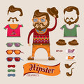 Hipster handsome man with hipster accessories eps vector illustration Royalty Free Stock Photos