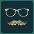 Hipster Icon with Geometric Grunge Background Royalty Free Stock Image