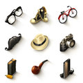 Hipster icon set illustration on white background Stock Photo