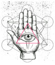 Hipster illustration with sacred geometry, hand, and all seeing eye symbol nside triangle pyramid. Eye of Providence. Masonic symb