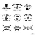 Hipster labels vintage with hat pipe fire Stock Photos