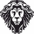 Hipster Lion head monochrome design, PNG format.