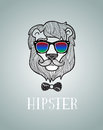 Hipster lion wearing spectacles