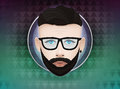 Hipster male character label on triangle background trendy lifestyle vector illustration concept Royalty Free Stock Photography