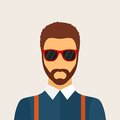Hipster man character with beard hairstyle and glasses in flat style stylish young guy on background avatar icon vector Royalty Free Stock Photography