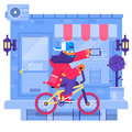 Hipster man cycling his fixie bike in urban environment. Flat vector illustration