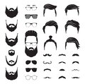 Hipster man. Male beard, mustache hair. Isolated man face with glasses. Fashion barber shop icons. Portrait constructor Royalty Free Stock Photo