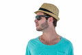 Hipster man posing with sunglasses and hat Royalty Free Stock Photo
