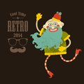 Hipster man vector illustration in retro colors Royalty Free Stock Photography