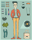 Hipster man young with fashion clothes and elements of style vector isolated objects for design Stock Images