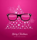 Hipster merry christmas and happy new year greetin glasses over stars tree composition card eps vector file organized in layers Royalty Free Stock Photography