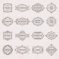 Hipster modern linear frames labels geometric borders backgrounds set vector Royalty Free Stock Images