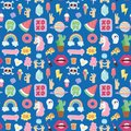 Hipster patches elements hand drawn cute fashionable stickers doodle pop art sketch pins comic seamless pattern