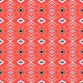 Hipster pattern with geometric forms in coral red vector seamless white black texture for web print wallpaper home decor spring Royalty Free Stock Images