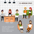 Hipster people working in the co working space infographics elements illustrator eps Stock Image