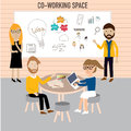 Hipster people working in the co working space infographics elements illustrator eps Stock Photo