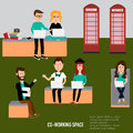 Hipster people working in the co working space infographics elements illustrator eps Stock Photos