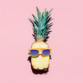 Hipster Pineapple Fashion Accessories and fruits. Royalty Free Stock Photo