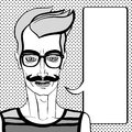 Hipster portrait black with speech bubble hand drawn illustration of a man with moustache and glasses over a background with dots Royalty Free Stock Photos