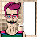 Hipster portrait with speech bubble hand drawn illustration of a man with moustache and pink glasses over a background with dots Stock Photo