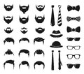 Hipster portraits creation kit. Monochrome constructor with male moustache, beard and haircut