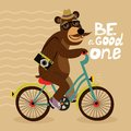 Hipster poster with geek bear riding bicycle vector illustration Royalty Free Stock Photo